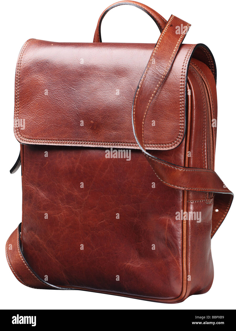Brown leather bag unisex - Stock Image