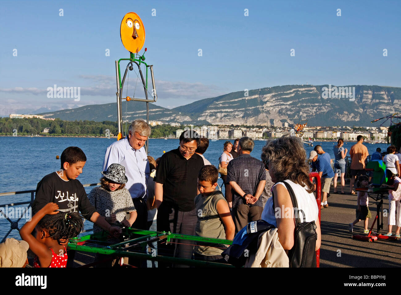 OPEN-AIR PARTY FOR CHILDREN IN THE MON REPOS PARK ON THE BANKS OF LAKE GENEVA, GENEVA, SWITZERLAND - Stock Image