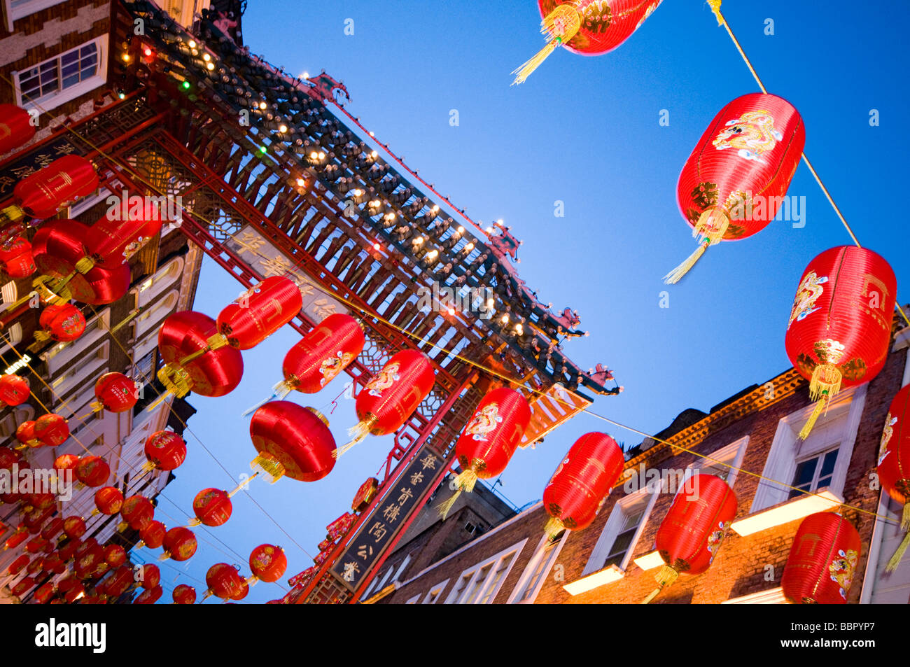 London Chinatown in the evening, decorated with red lanterns, UK - Stock Image