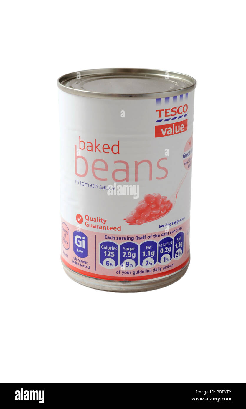 a can of  Tesco Value Baked beans food. - Stock Image