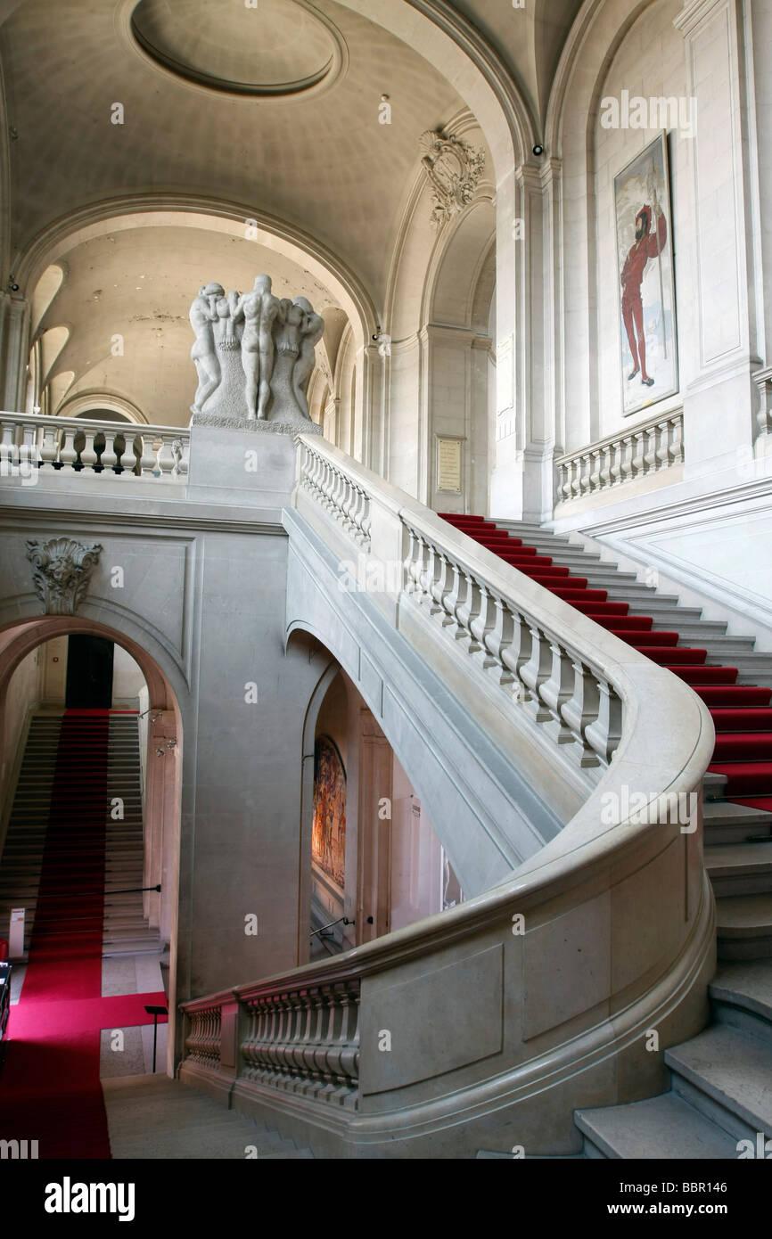 MAIN STAIRWAY, MUSEUM OF ART AND HISTORY, GENEVA, SWITZERLAND Stock Photo