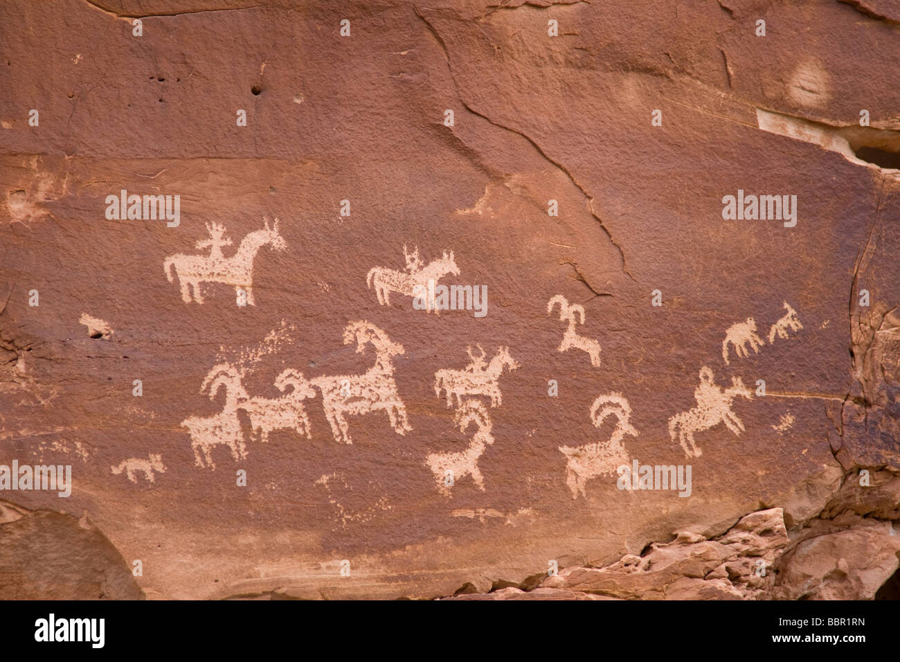 Ute Petroglyphs, Wolfe Ranch, Arches National Park, Utah - Stock Image