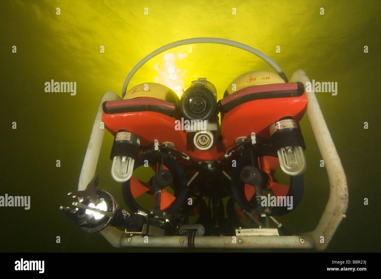ROV or robotic underwater vechile working underwater Stock Photo