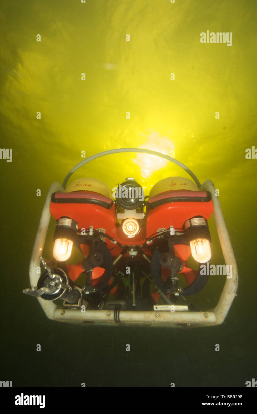 ROV or robotic underwater vechile working underwater Stock Photo