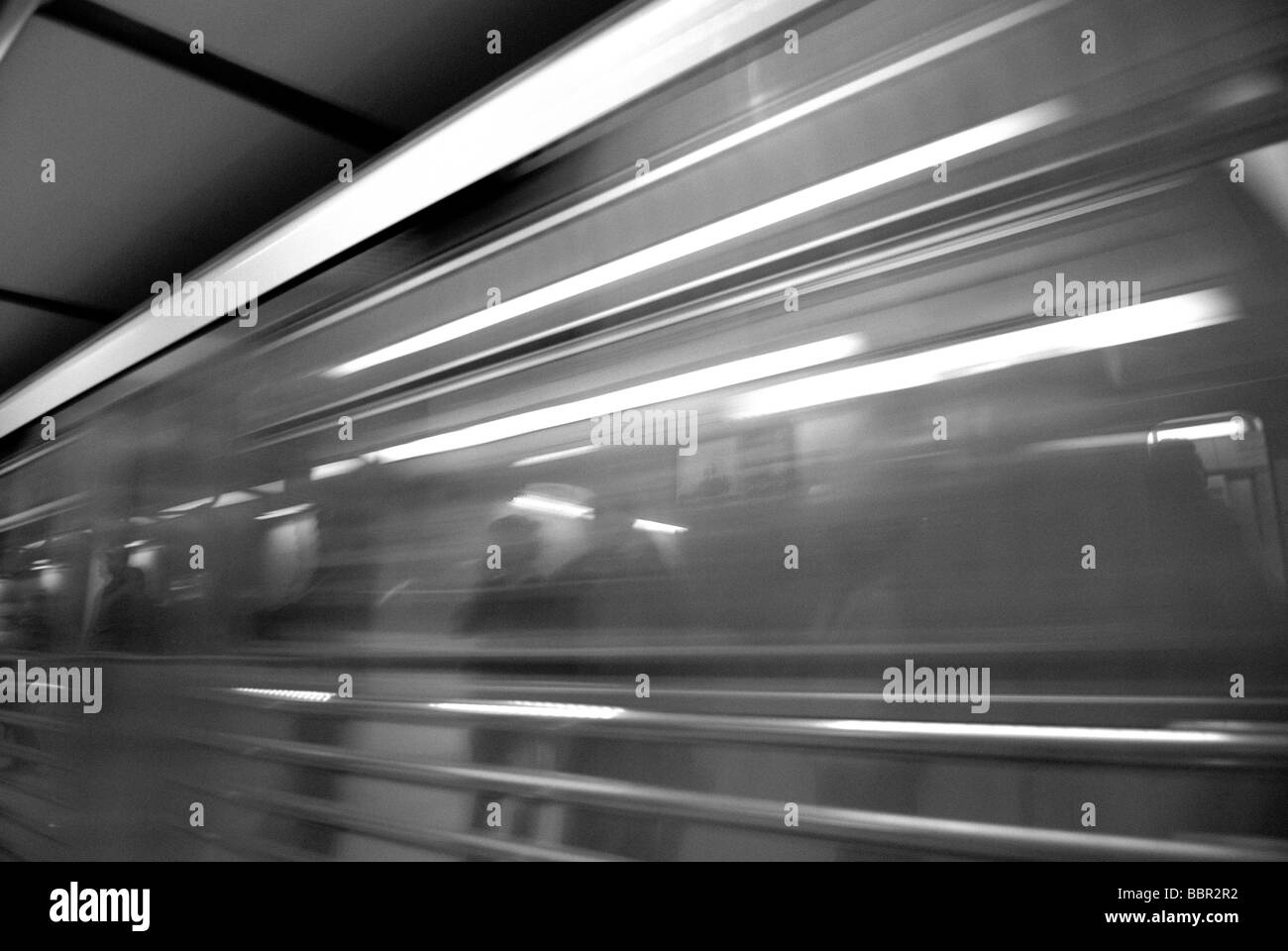 METRO TRAIN IN MOTION - Stock Image
