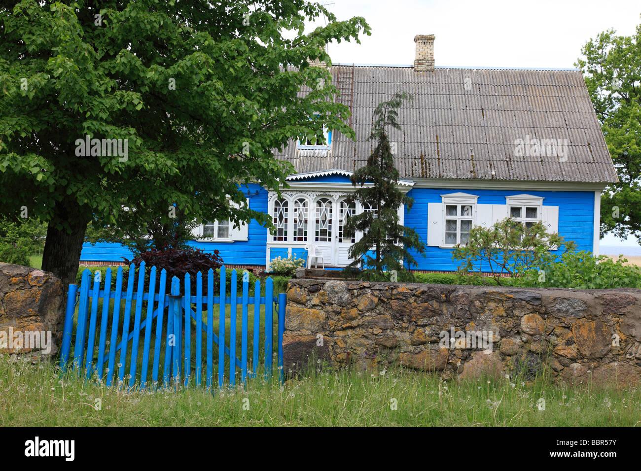 estonaina summerhouse at the boarder of Latvia, Estonia, Baltic Nation. Photo by Willy Matheisl - Stock Image