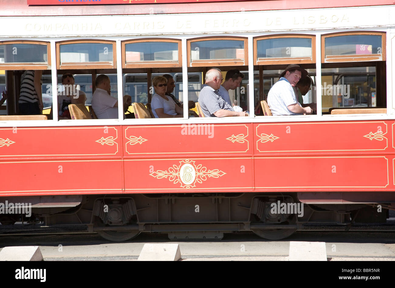 Lisbon Tram With Tourists - Stock Image