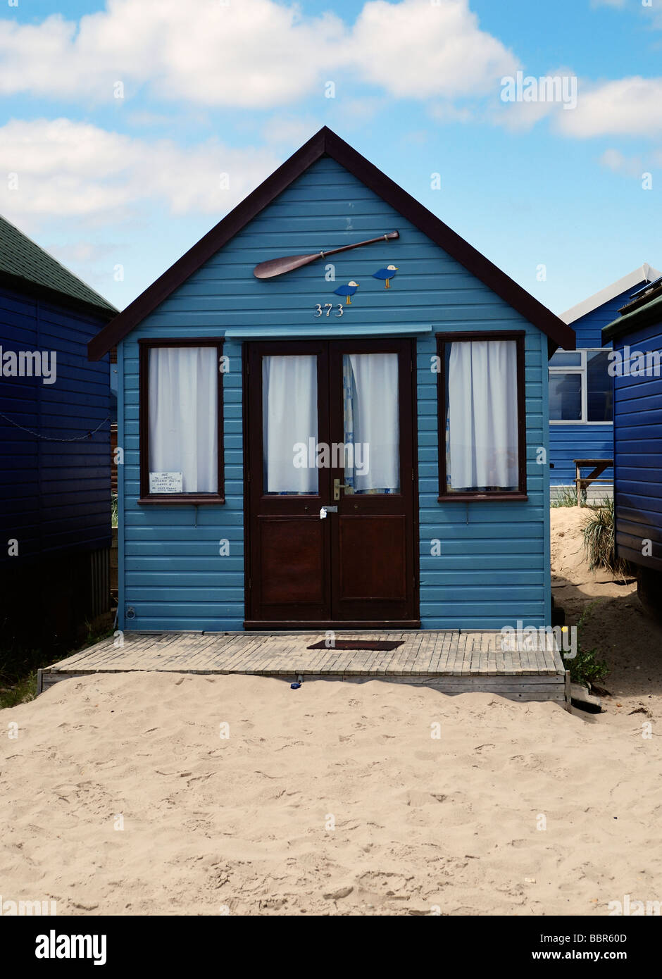 A large deluxe beach hut - Stock Image