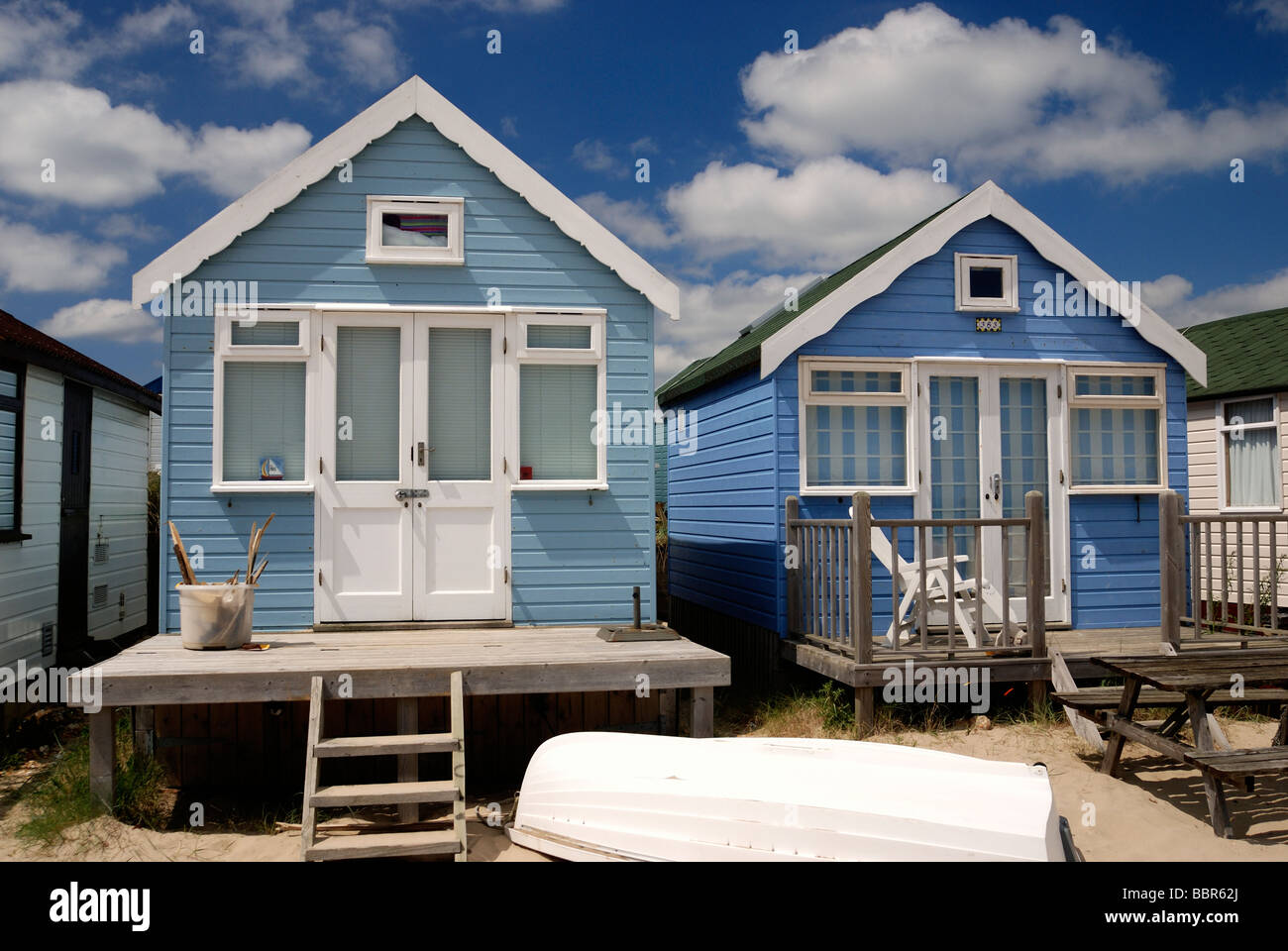 Two large deluxe beach huts - Stock Image
