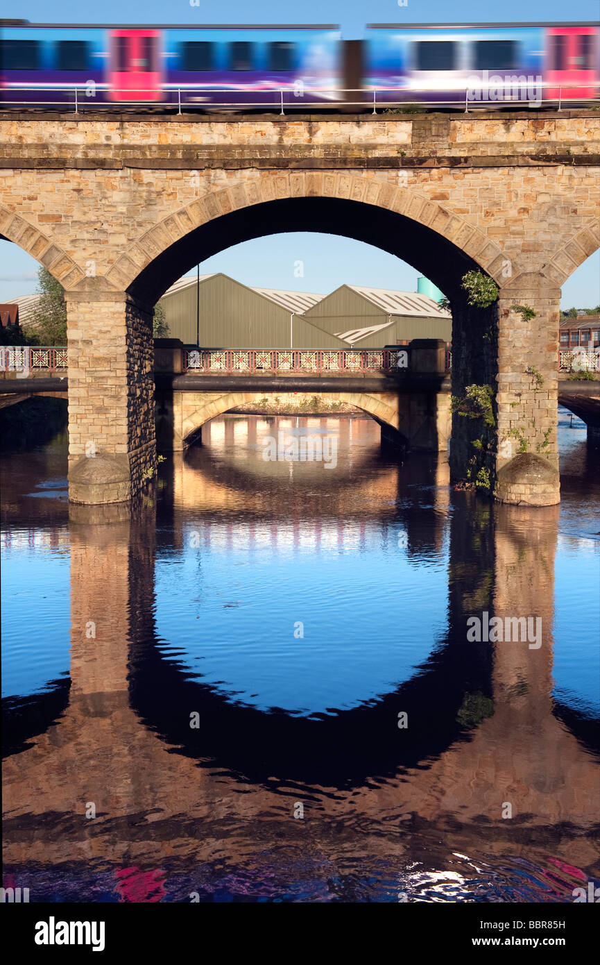 Northern Rail train crossing over the  'River Don' in  Sheffield,'South Yorkshire'England,'Great - Stock Image