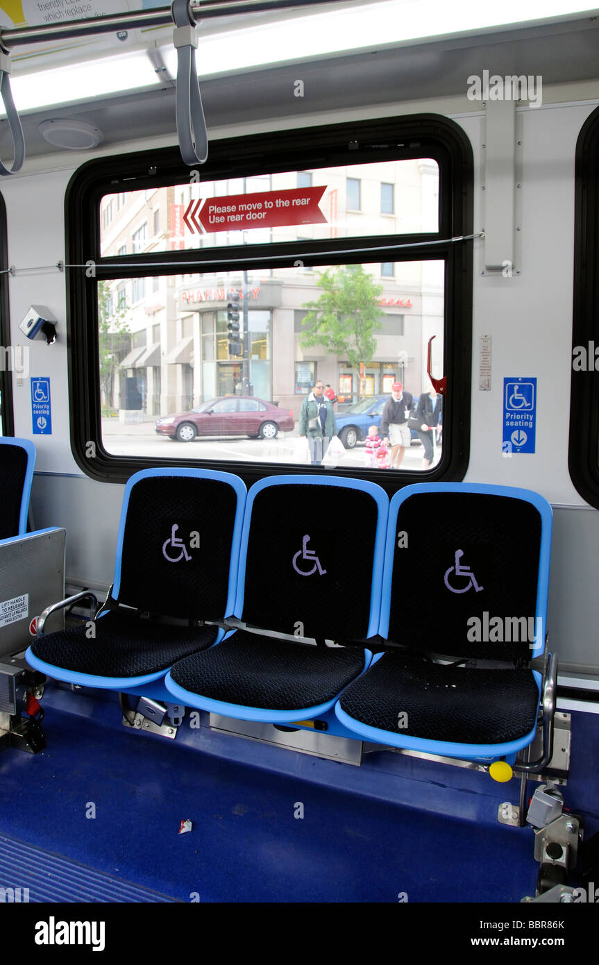Priority seating on a bus for the elderly and handicapped