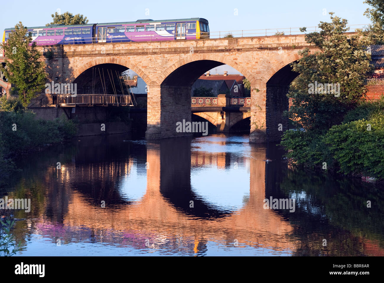 Northern Rail train crossing the  'River Don'  in  Sheffield,'South Yorkshire'England,'Great - Stock Image