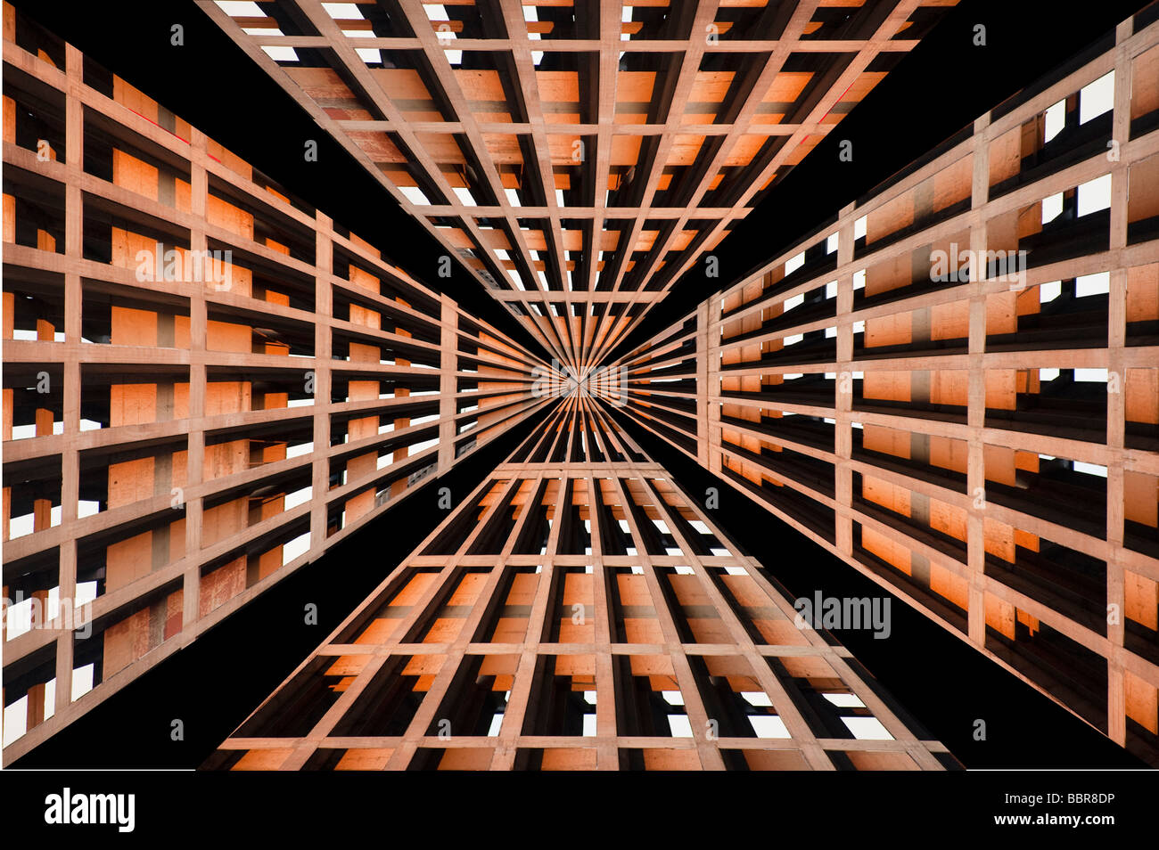Geometric perspective pattern formed from a closeup image of 'Park Hill Flats' when under redevelopment, - Stock Image