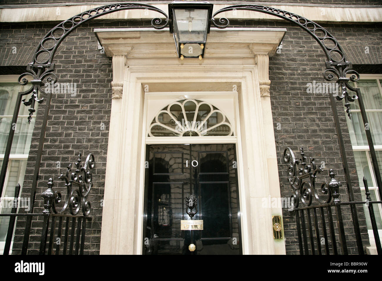The front door of number 10 Downing Street Prime Ministers residence London, England, UK - Stock Image