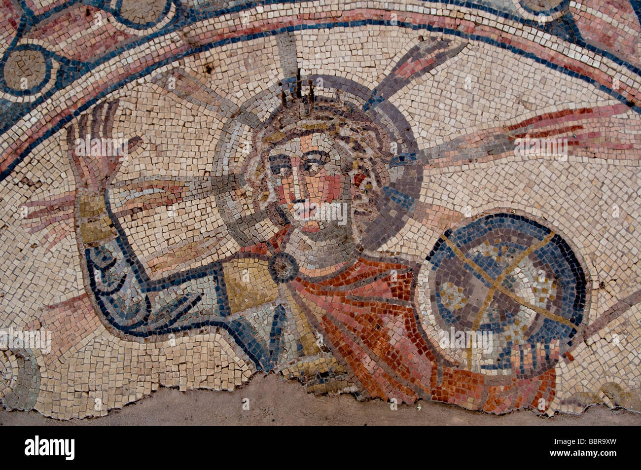 Detail of the antique zodiac mosaic floor at Hamat ...