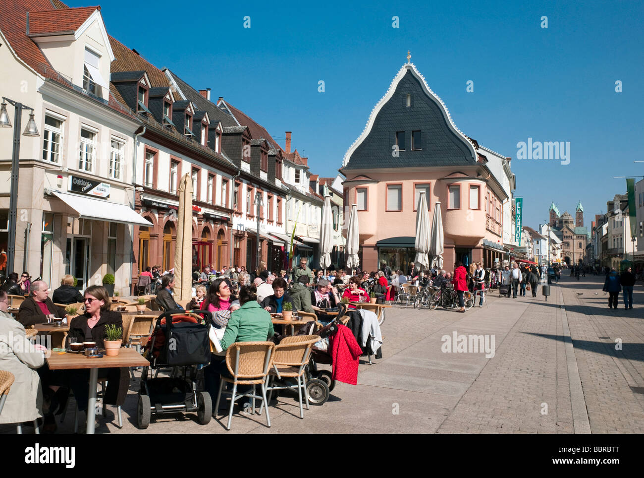 Pedestrian zone in front of Speyer Cathedral, Maximilian street, Speyer, Rhineland-Palatinate, Germany, Europe Stock Photo