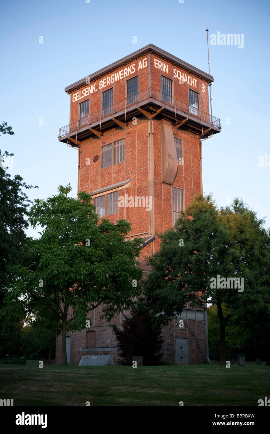 Hammer head shaft tower Erin mine, shaft 3, Castrop-Rauxel, North Rhine-Westphalia, Germany, Europe - Stock Image