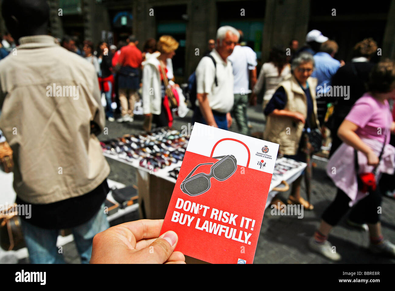 BROCHURE FOR THE PUBLICITY CAMPAIGN AGAINST THE SALE AND PURCHASE OF FAKE SUNGLASSES, FLORENCE, ITALY, EUROPE - Stock Image