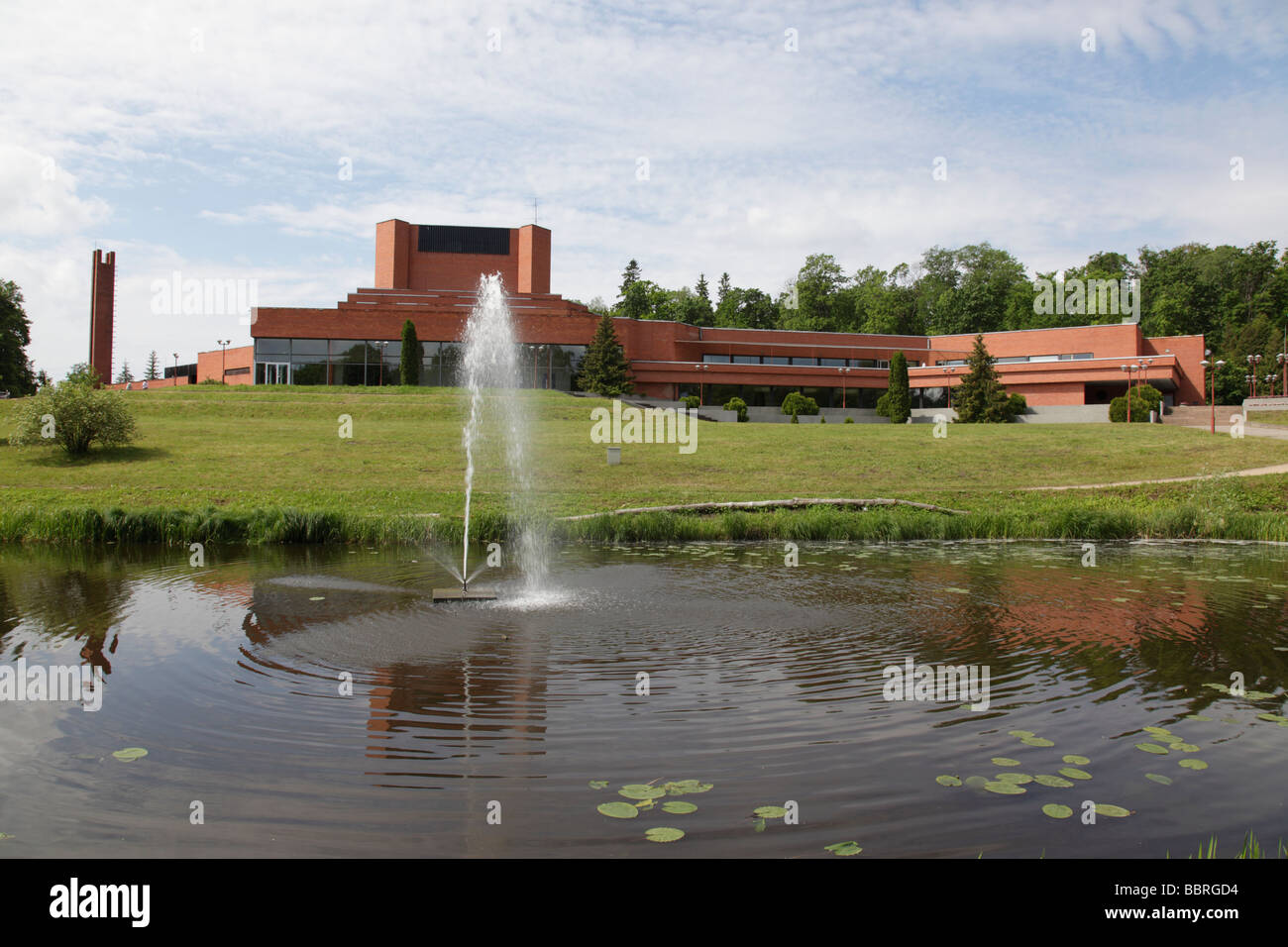 lake and fountain at the Ugala theatre at the city of Viljandi, Estonia, Baltic Nation, Eastern Europe.  Photo by - Stock Image