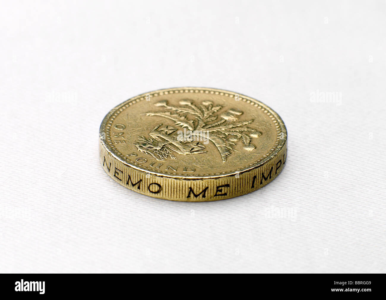 BRITISH POUND COIN TAILS - Stock Image