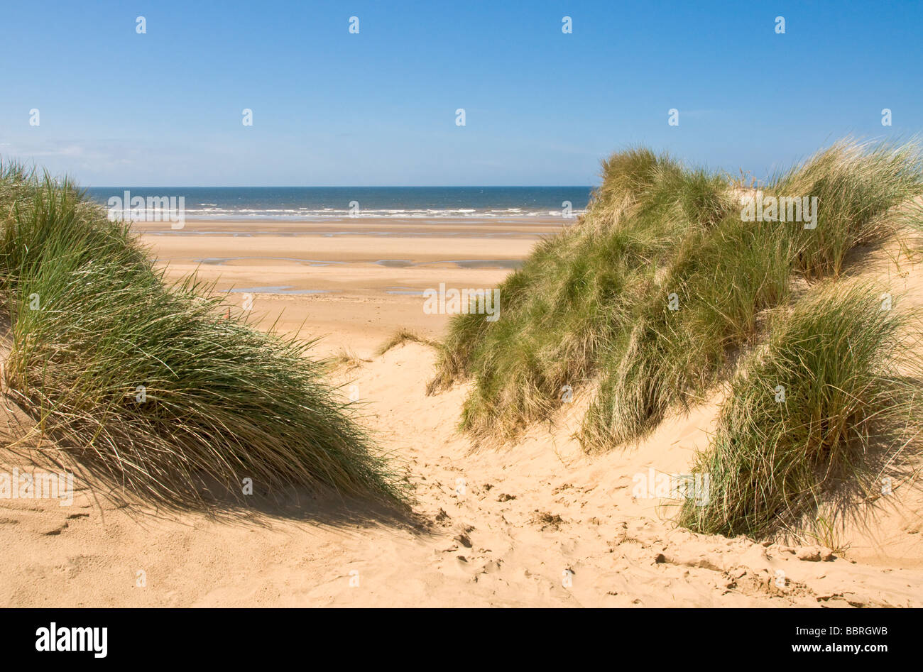 Beach and sand dunes at Formby, Lancashire. - Stock Image