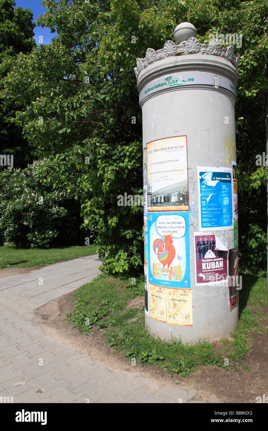 advertising column at Tartu, Estonia, Baltic State, Eastern Europe. Photo by Willy Matheisl - Stock Image