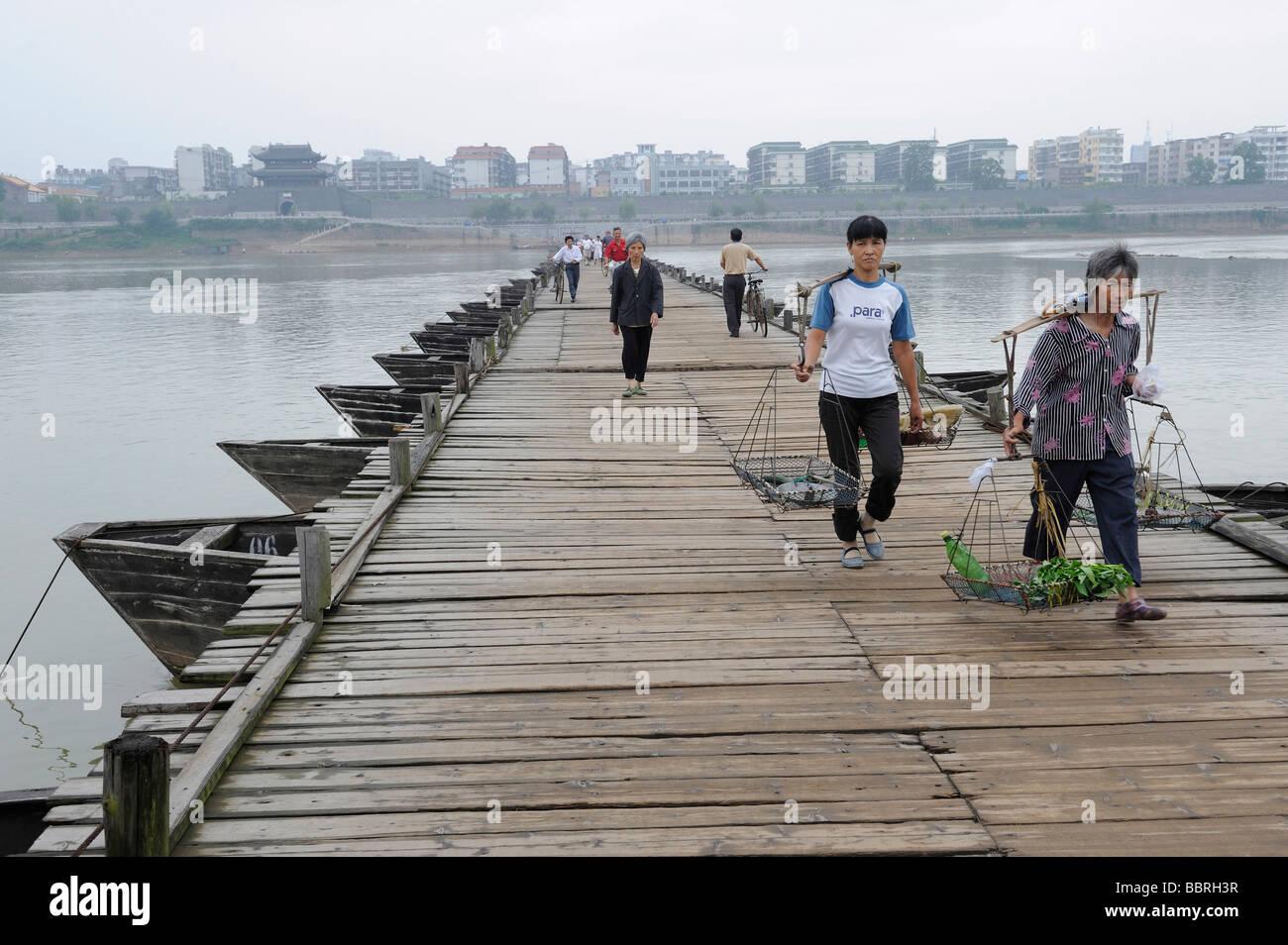Ancient pontoon bridge in Ganzhou, Jiangxi, China. 11-Jun-2009 - Stock Image