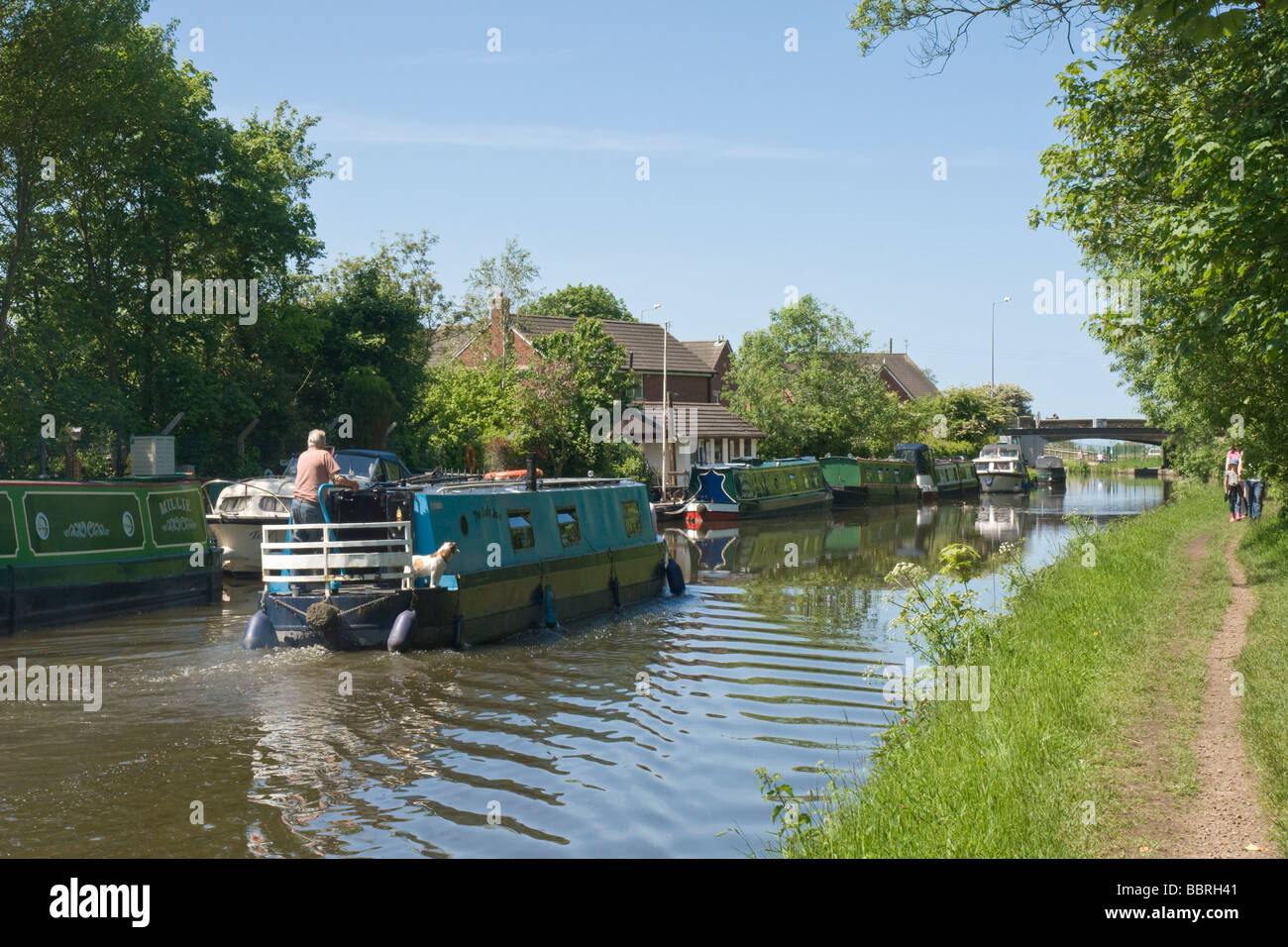 Narrow Boats on the Leeds Liverpool Canal at Scarisbrick, Lancashire - Stock Image