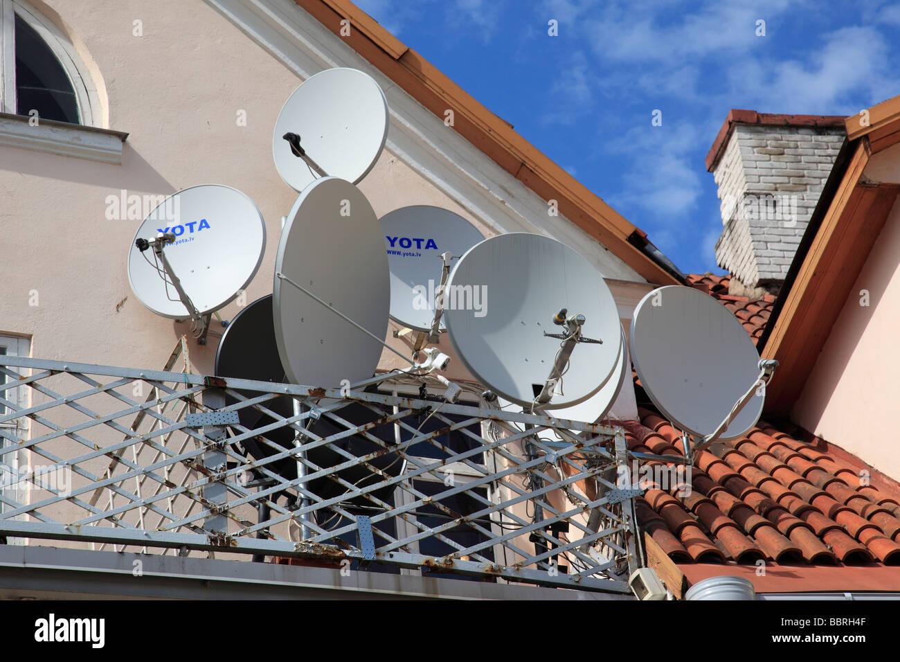 many parabol antennas Tartu, Estonia, Baltic State, Eastern Europe. Photo by Willy Matheisl - Stock Image