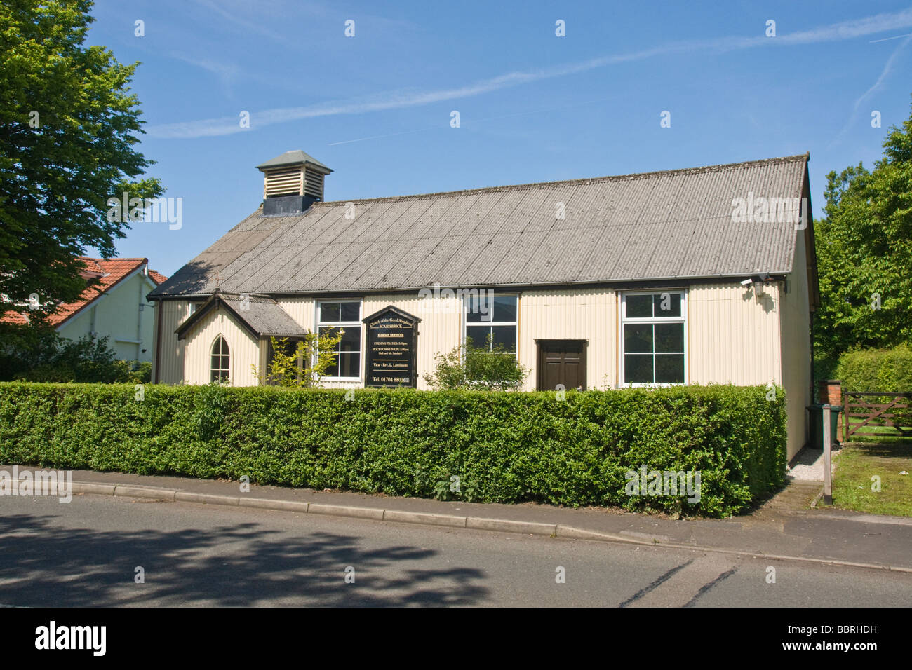 'Church of the Good Shepherd' at Scarisbrick. Building clad in corrugated iron. - Stock Image