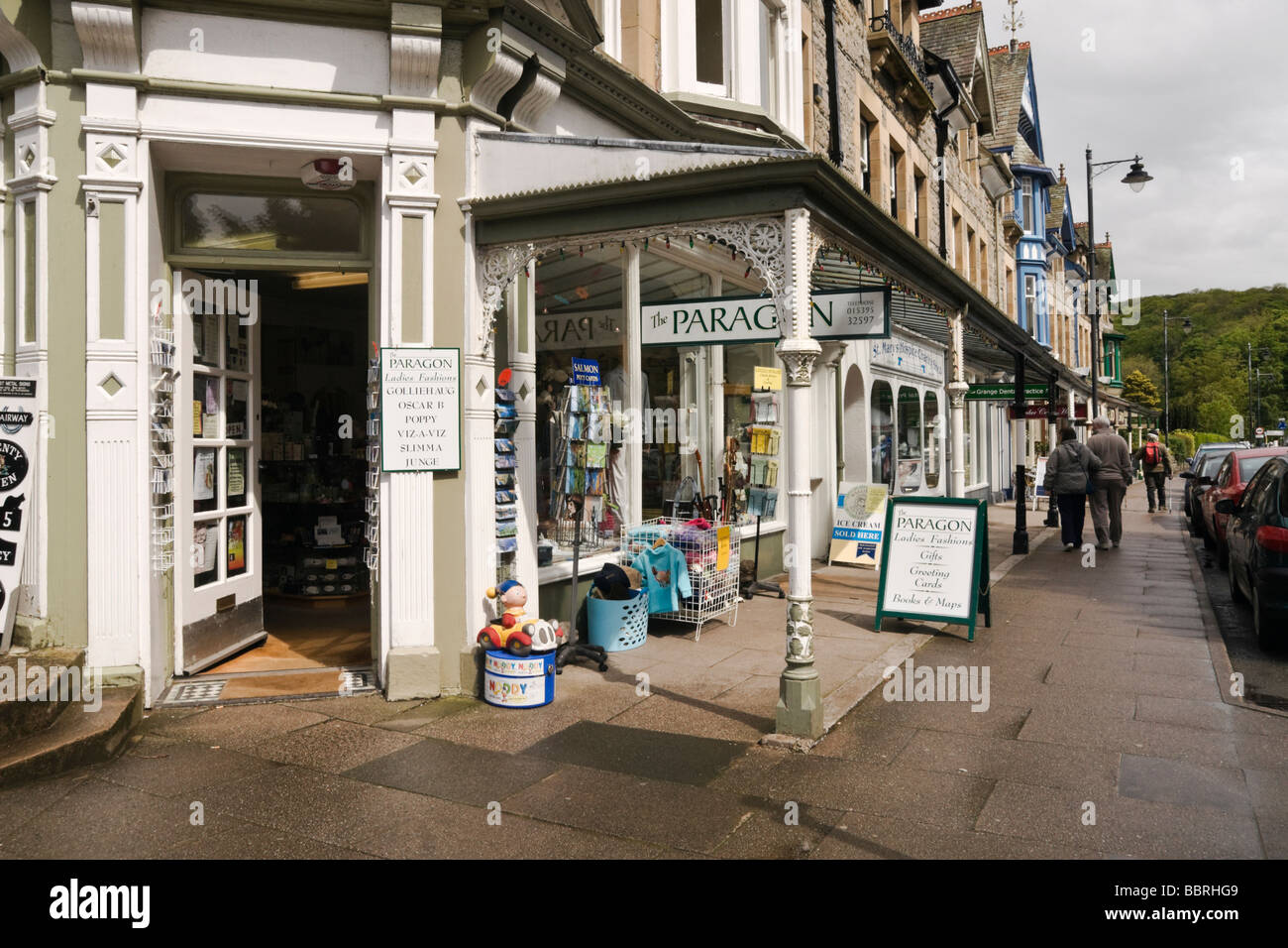 Veranda on shop fronts at Grange over Sands, Cumbria. - Stock Image