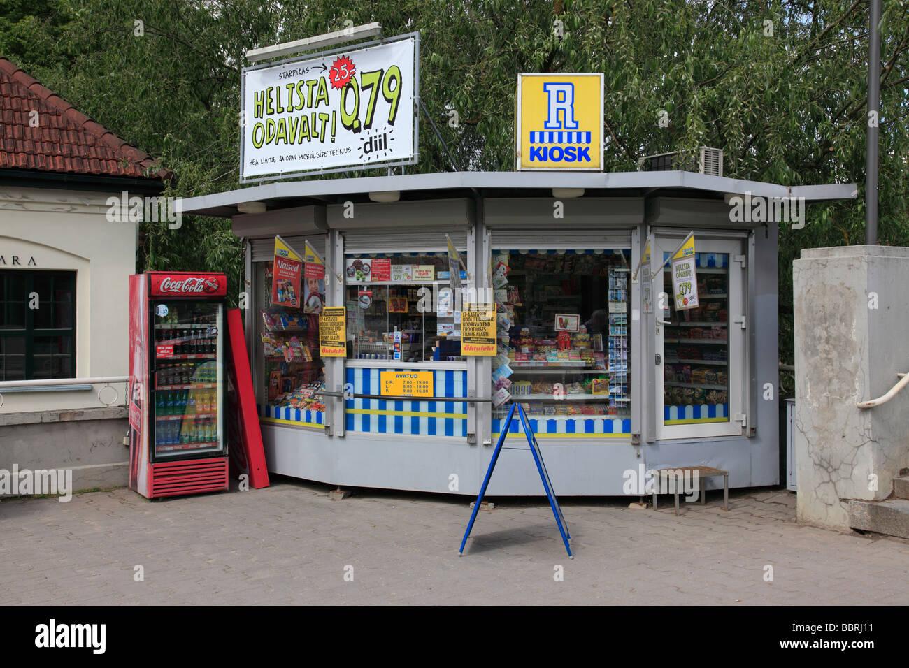 Kiosk at the city of Tartu, Estonia, Baltic State, Eastern Europe. Photo by Willy Matheisl - Stock Image