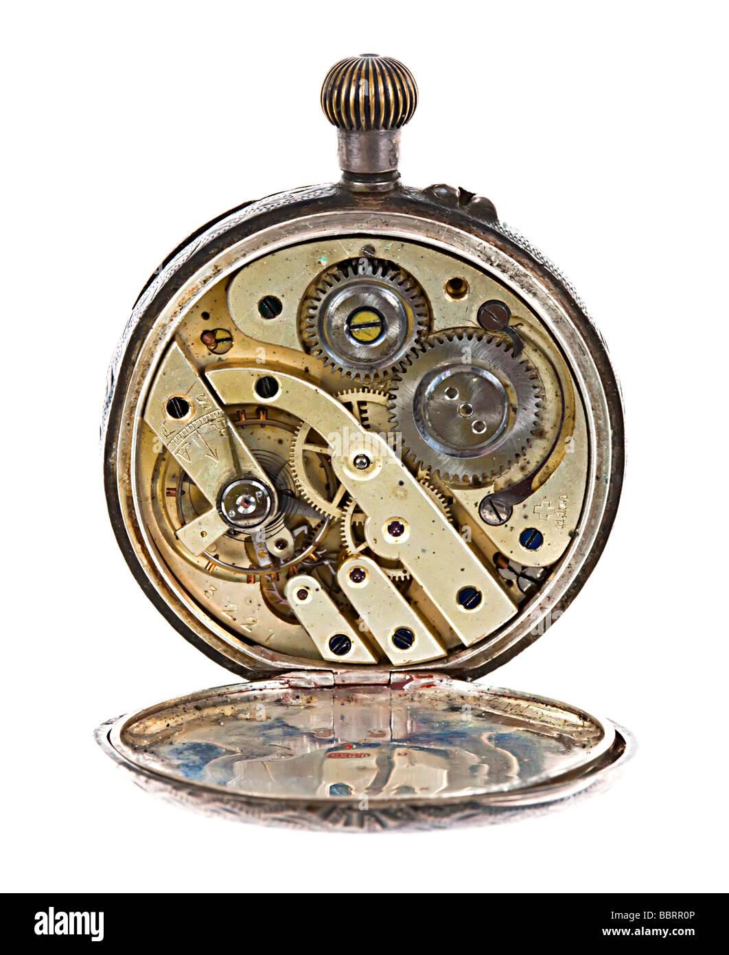 Antique pocket watch movement UK - Stock Image
