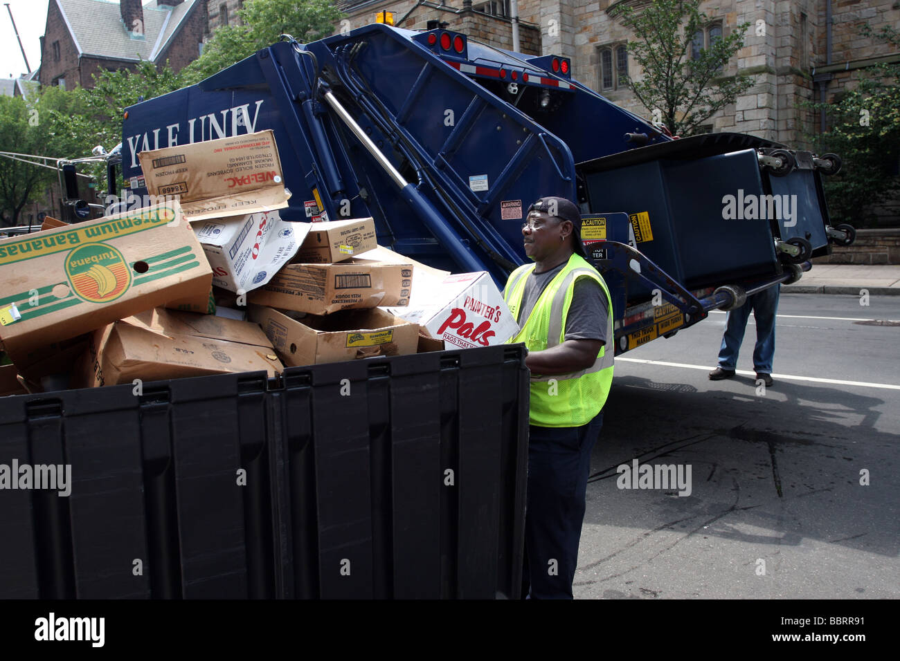 A man prepares to move a container filled with recyclable cardboard into a garbage truck at Yale University New - Stock Image