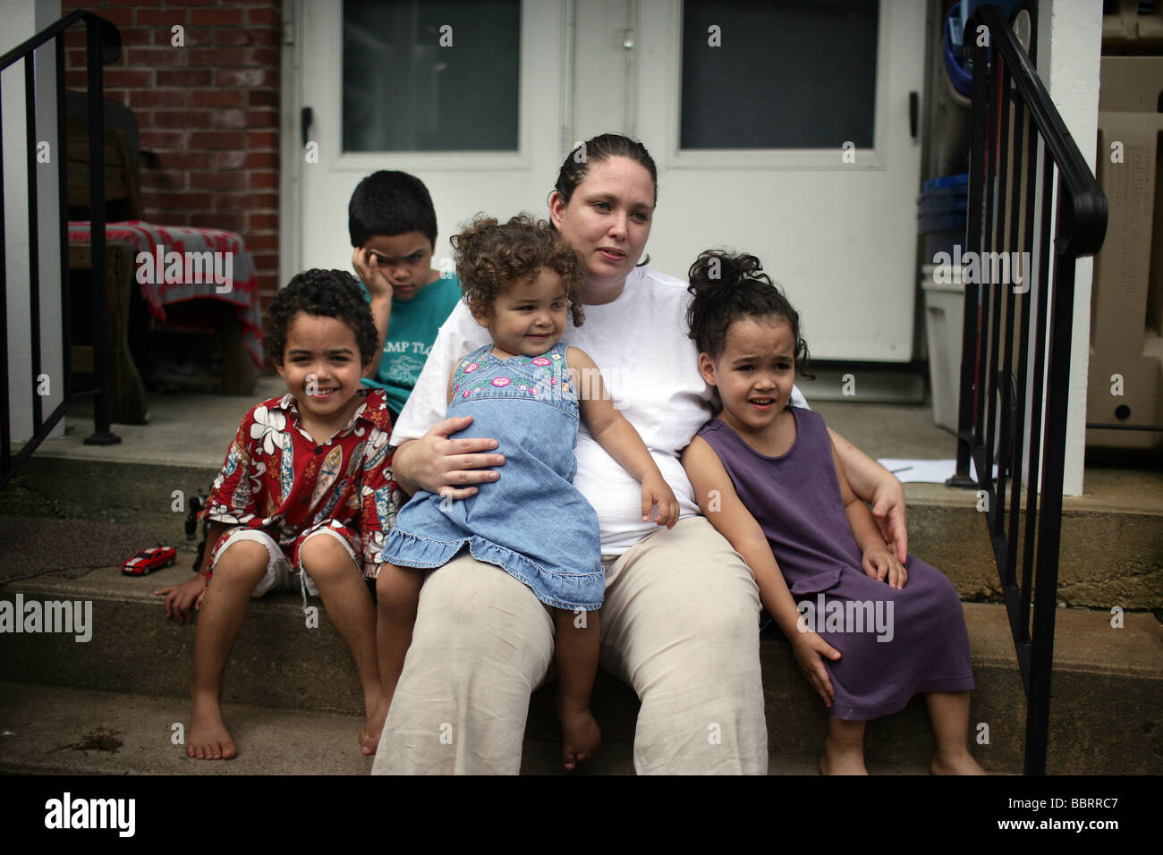 A happy family mother with four children in New Haven Connecticut USA Stock Photo