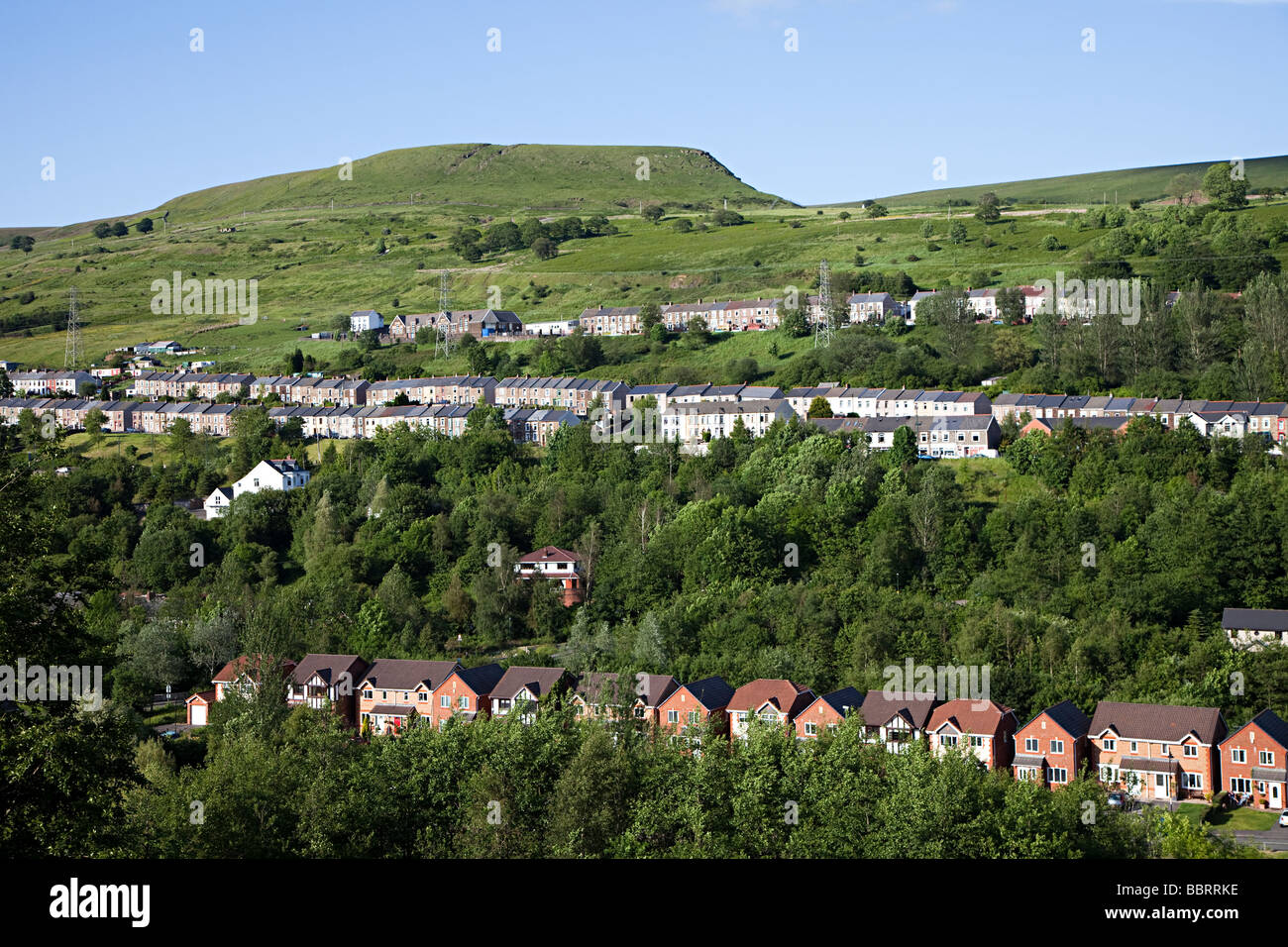 Traditional terraced and modern detached houses in a South Wales valley Ebbw Vale UK - Stock Image