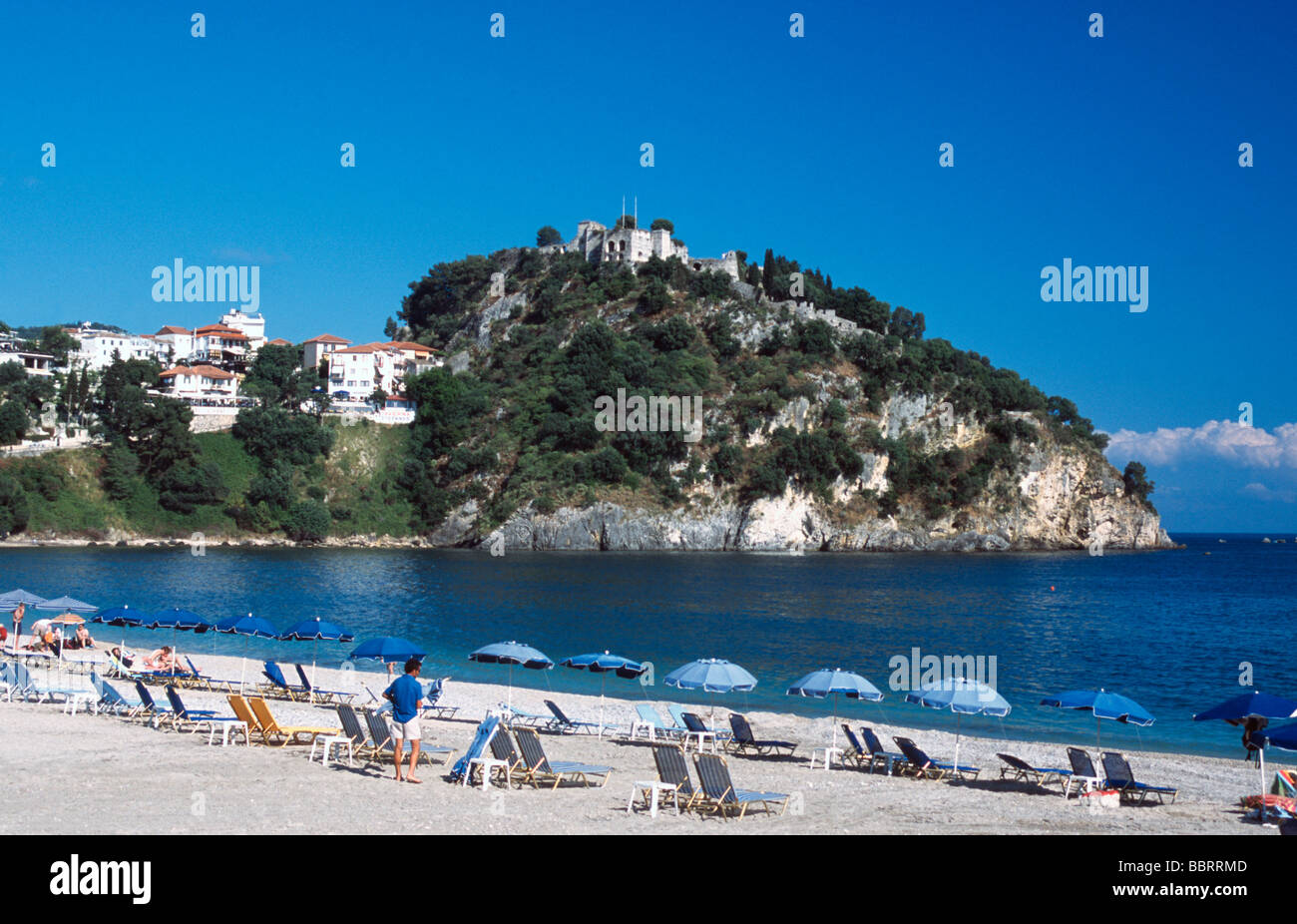 Valtos Beach Turkish Castle Parga Ionian Mainland Greece Europe - Stock Image