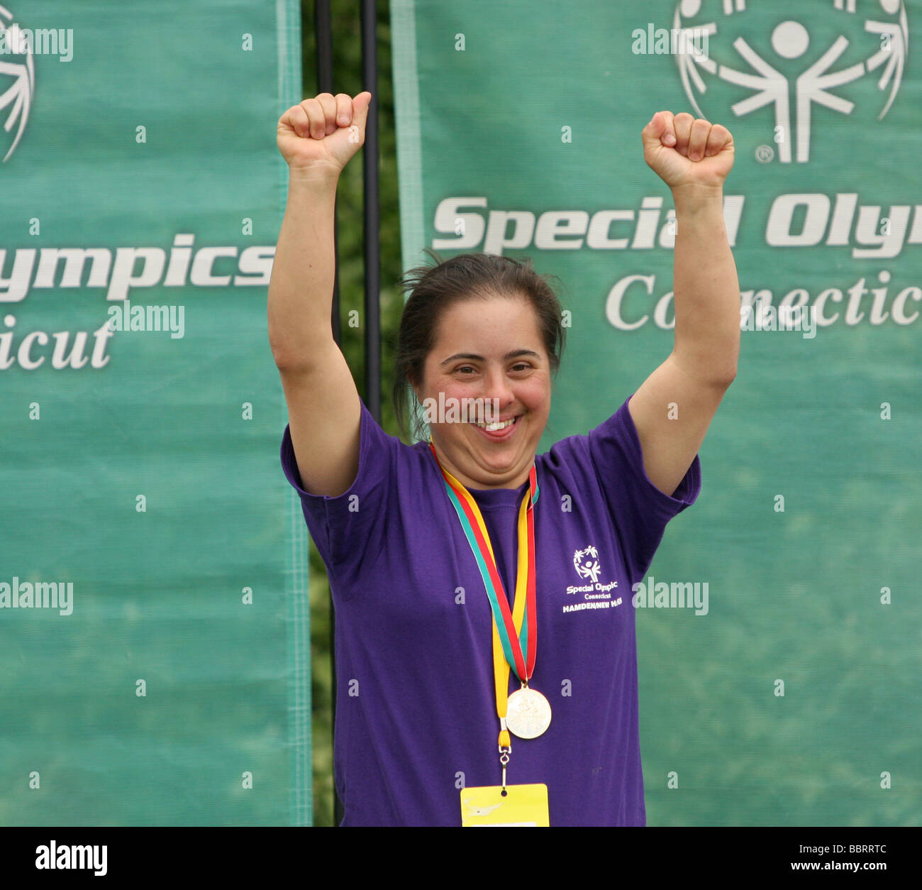 Connecticut USA Special Olympics awards ceremony Gold Medal winner - Stock Image