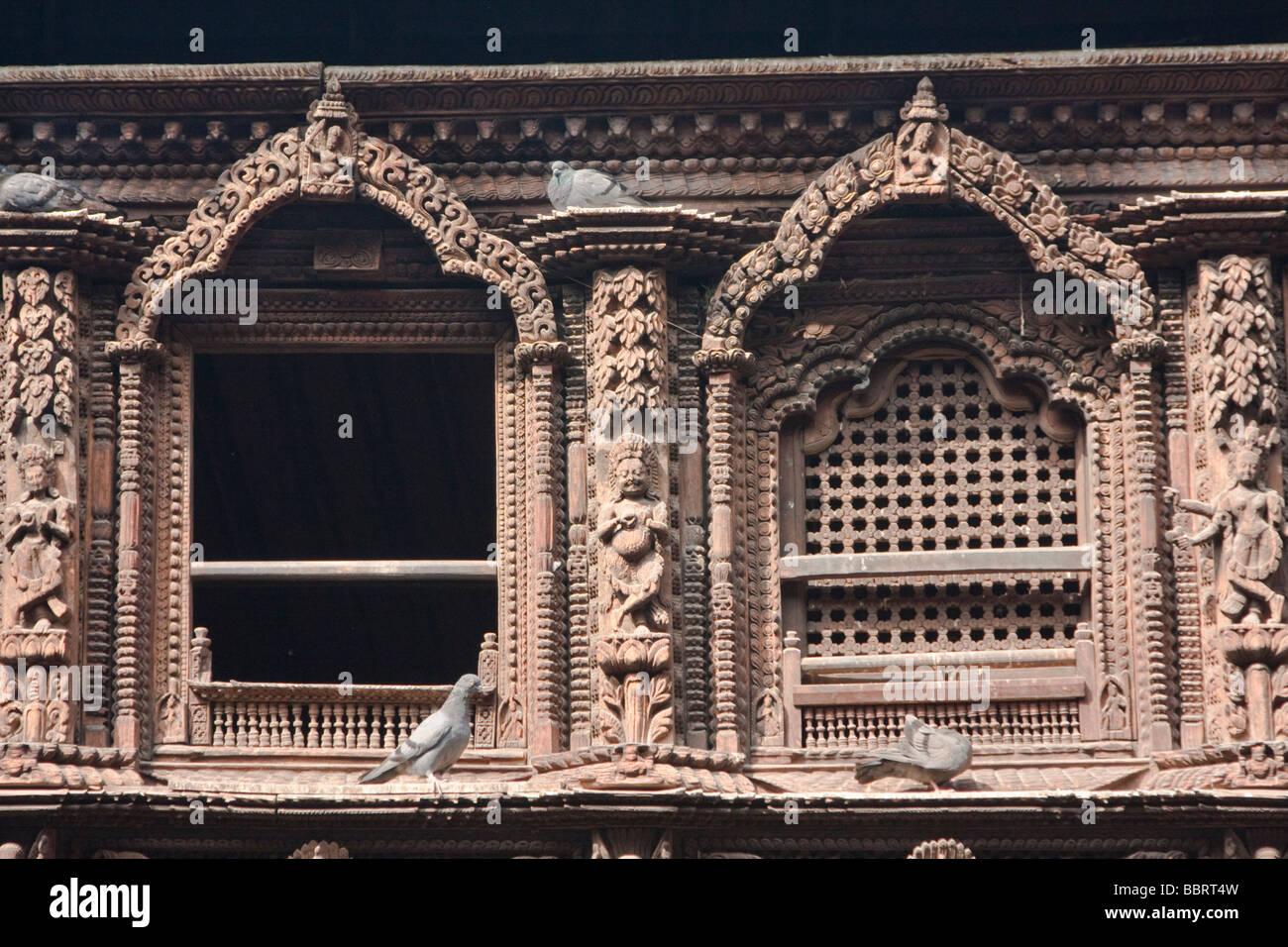 Kathmandu, Nepal. Carved Window in the Kumari Bahal, House of the Kumari Devi, a Young Girl Revered as a Living - Stock Image