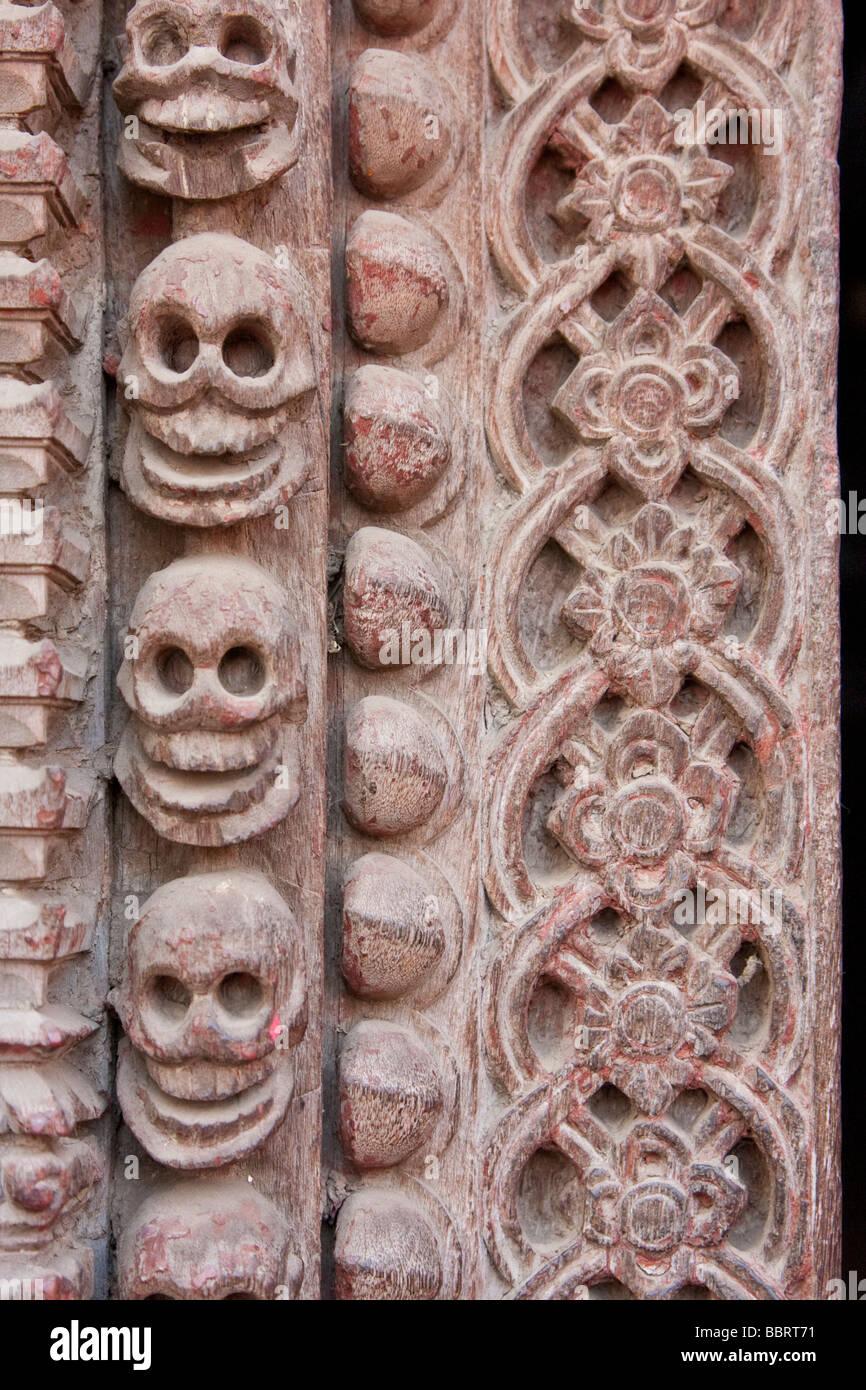 Kathmandu, Nepal.  Skulls in Carved Door Frame of the Kumari Bahal, house of the Kumari Devi, a Young Girl Revered - Stock Image