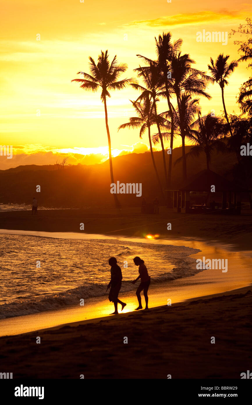 Sunset Salt Pond Beach Park Hanapepe Kauai Hawaii - Stock Image