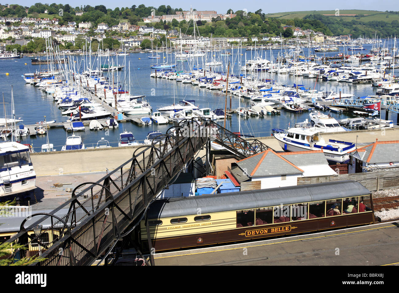 Steam trains and coaches of the Dart valley Railway at Kingswear Devon - Stock Image