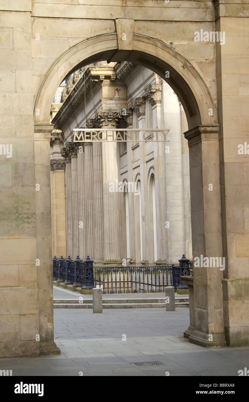 Arch to Merchant City and classical building in the background Glasgow Scotland - Stock Image