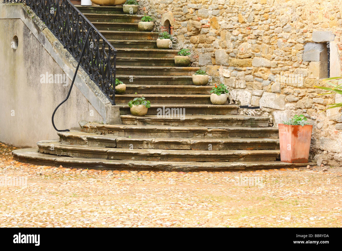 Stairs Saint Papoul Languedoc-Roussillon France - Stock Image
