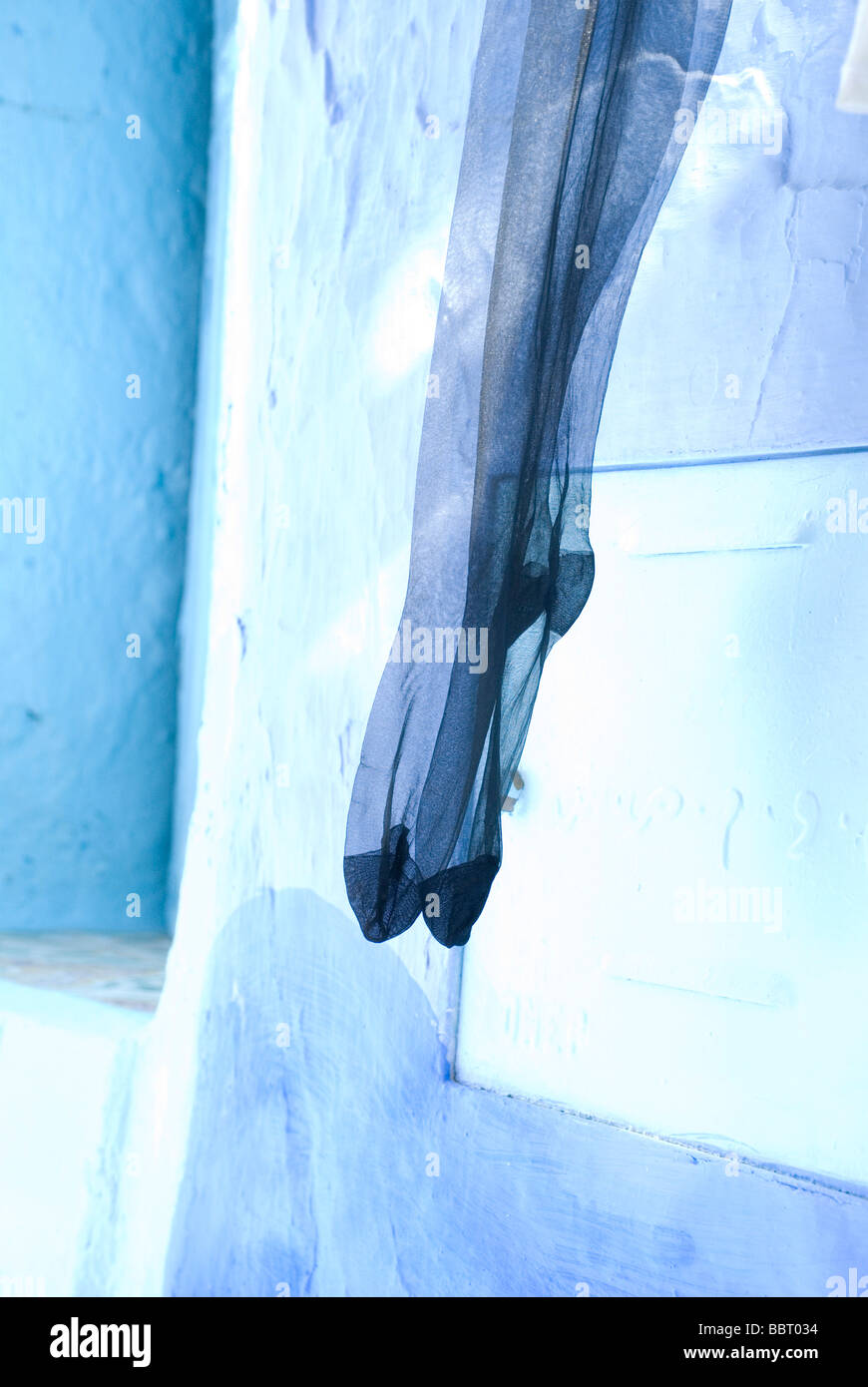 Panty details on blue street. Chefchaouen Chaouen Morocco Stock Photo
