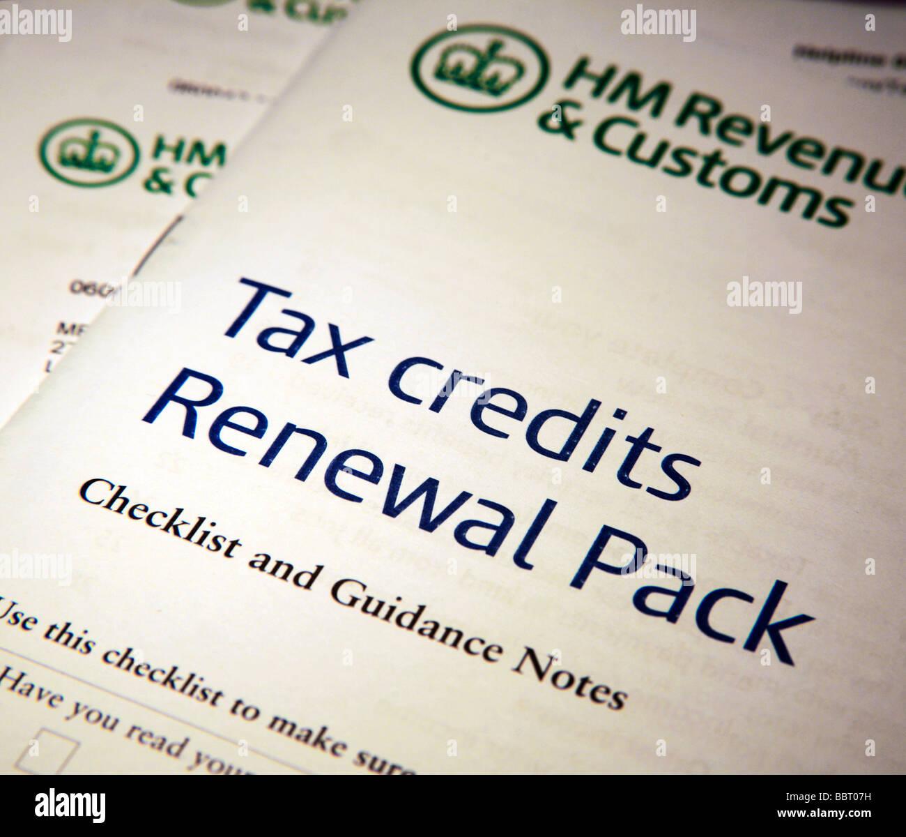 HMRC Tax Credit Renewal Application Forms - Stock Image