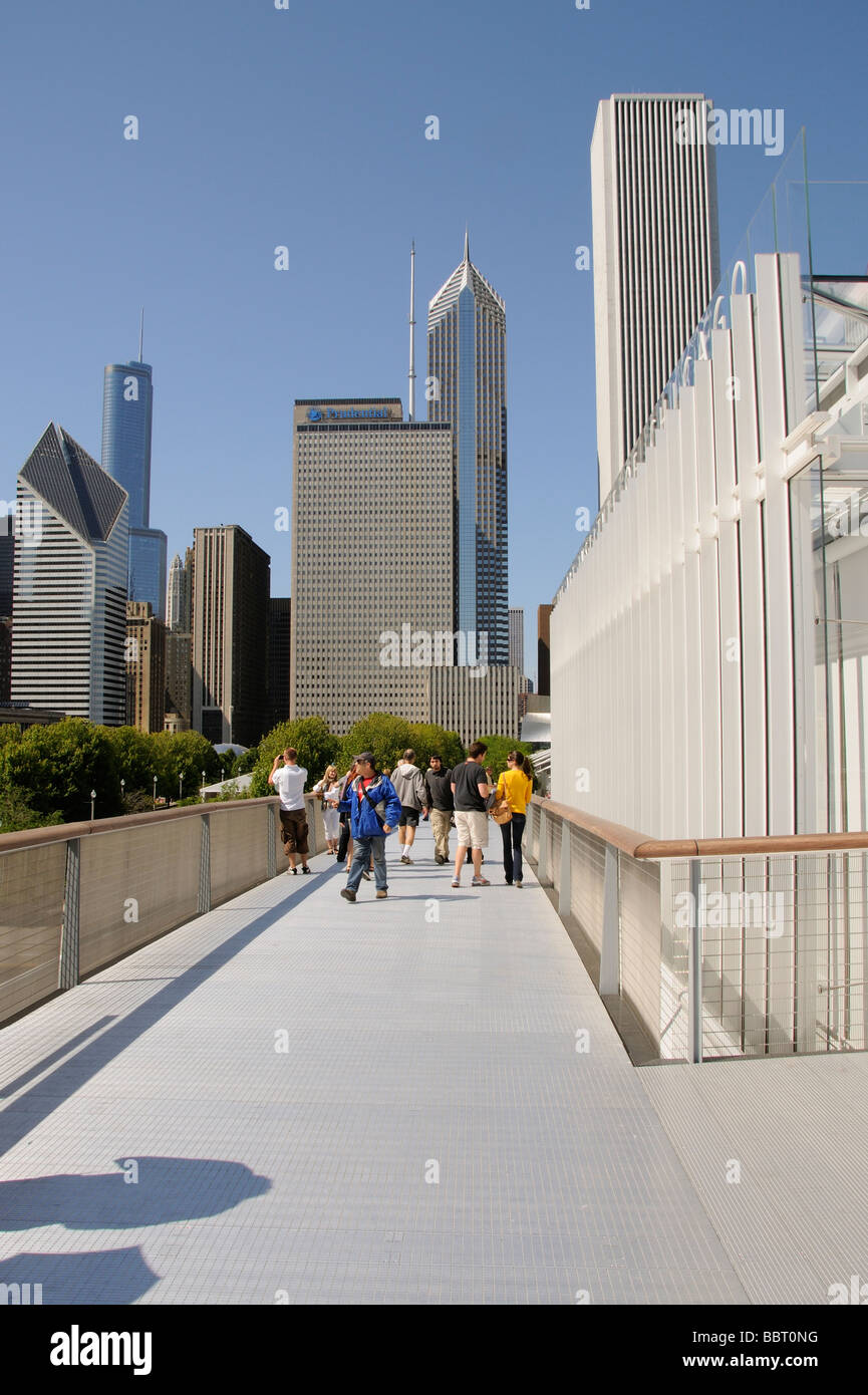 The Nichols Bridgeway access to and from The Art Institute of Chicago Illinois USA - Stock Image