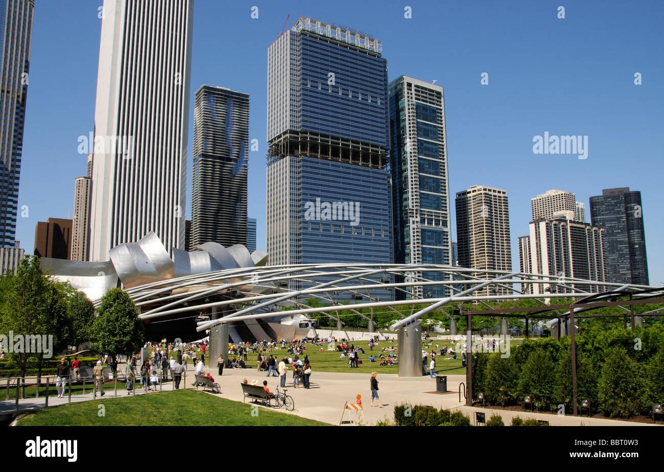 The Jay Pritzker Pavilion in Millennium Park downtown Chicago Illinois USA - Stock Image
