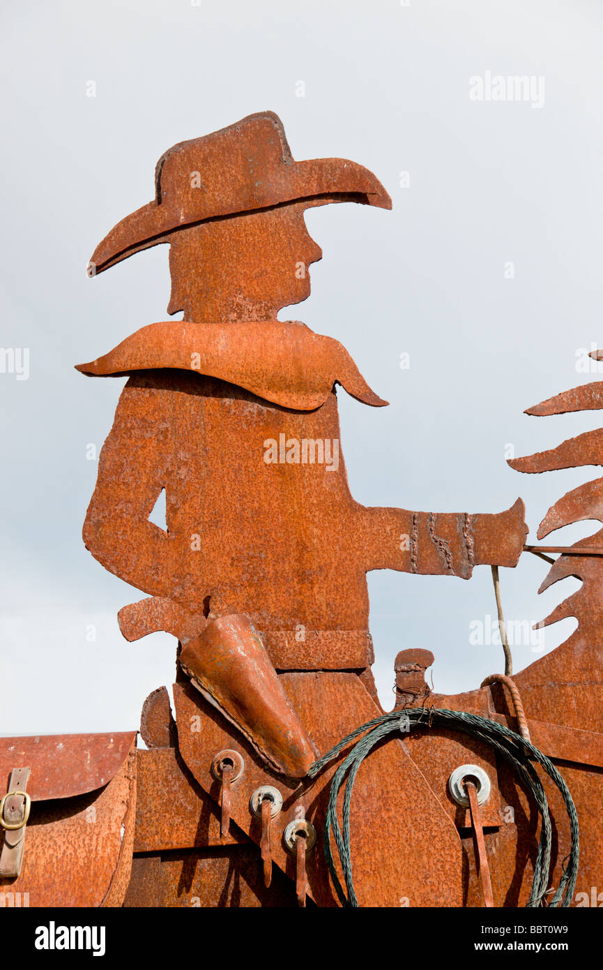 Rope Sculpture Stock Photos Images Alamy Wiring Money Bbt A Metal Of Cowboy On Artists Row In Carrizozo New Mexico