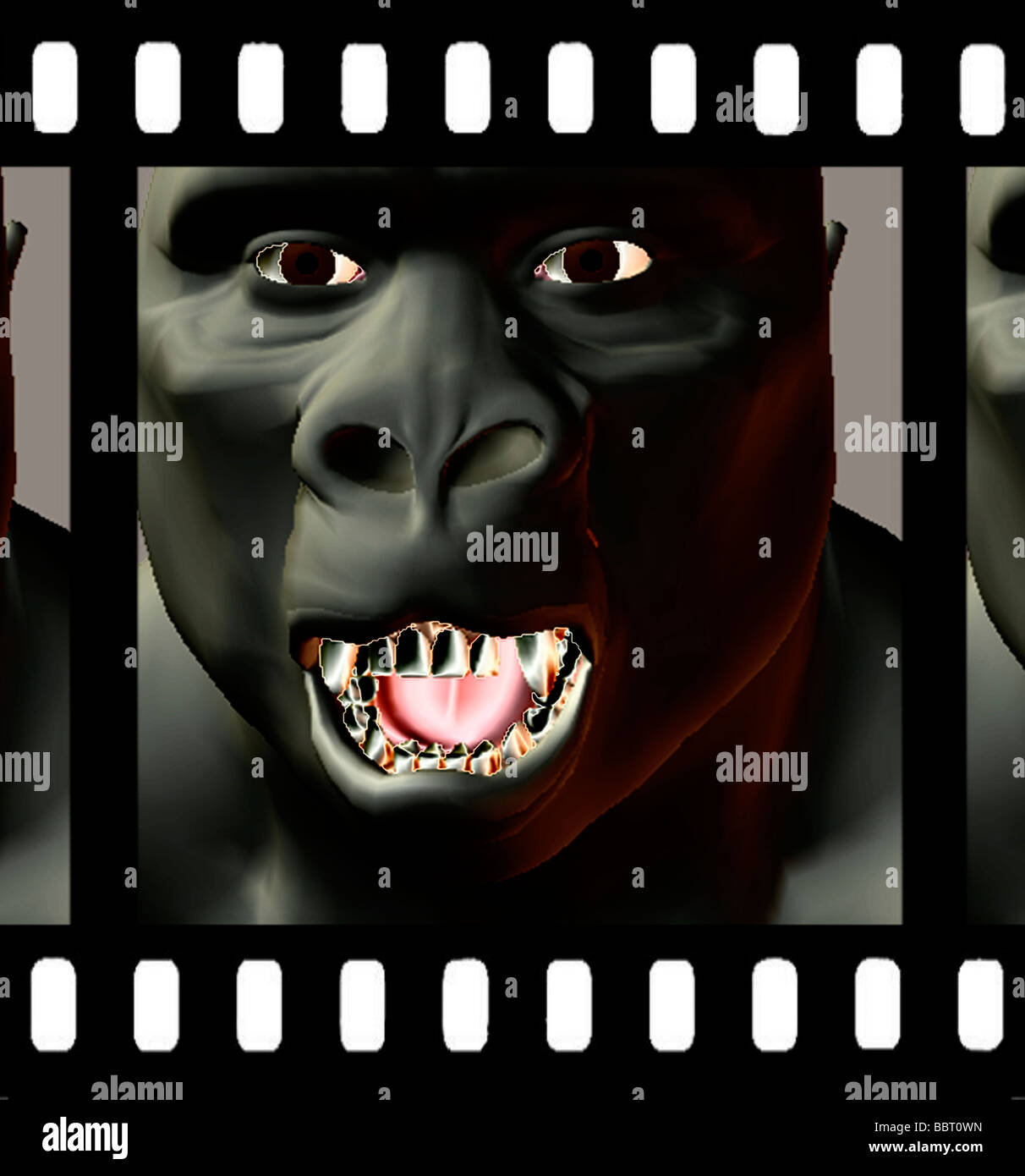 3D computer generated illustration of ape on movie film frame - Stock Image